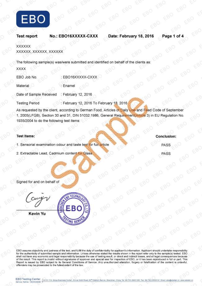 LFGB证书样本
